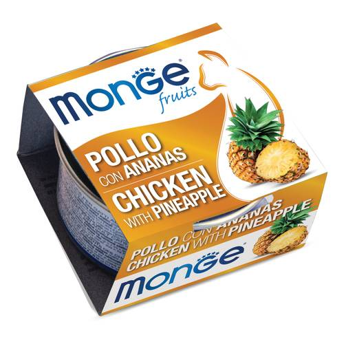MONGE FRUITS POLLO C/ANANAS80G
