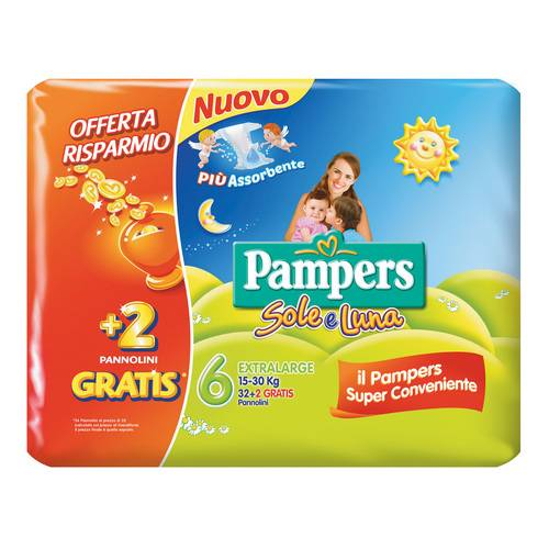 PAMPERS SOLELUNA XL 32+2pz